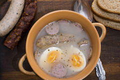 Traditional polish Zurek, easter soup. Royalty Free Stock Photography