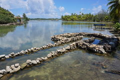 Traditional Polynesian fish trap made with stones Stock Images