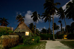 Traditional Polynesian houses in Aitutaki Lagoon Cook Islands Royalty Free Stock Photos