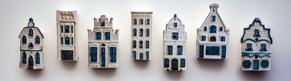 Traditional porcelain Dutch lodges on wall Stock Photos
