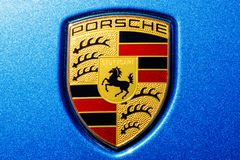 Indianapolis - Circa July 2018: Traditional Porsche Crest with the horse of the Stuttgart coat of arms on a new Cayenne IV Stock Images