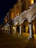 traditional portals with columns and arches in the centre of the city of Queretaro stock photo