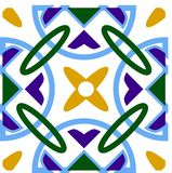 Traditional Portugal azulejos inspired seamless pattern for wall and floor home ceramic design. Blue circles with geometric patter royalty free illustration