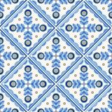Traditional Portugal Lisbon azulejo ceramic cement  tiles pattern. Traditional Portugal Lisbon azulejo ceramic tiles. Vector illustration. Yellow, blue and white stock illustration