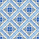 Traditional Portugal Lisbon azulejo ceramic cement  tiles pattern. Traditional Portugal Lisbon azulejo ceramic tiles. Vector illustration. Yellow, blue and white royalty free illustration
