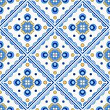 Traditional Portugal Lisbon azulejo ceramic tiles pattern. Traditional Portugal Lisbon azulejo ceramic tiles. Vector illustration. Yellow, blue and white colors royalty free illustration