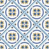 Traditional Portugal Lisbon azulejo ceramic cement  tiles pattern. Traditional Portugal Lisbon azulejo ceramic tiles. Vector illustration. Yellow, blue and white vector illustration