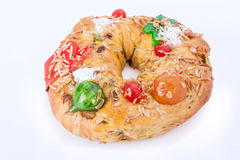 Traditional Portuguese Christmas cake, called Bolo Rei King Cake Royalty Free Stock Photo