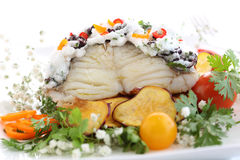 Traditional portuguese christmas dish - boiled cod Royalty Free Stock Photos