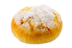 Traditional Portuguese coconut pastry called Pao de Deus. Isolated on white background Royalty Free Stock Photo