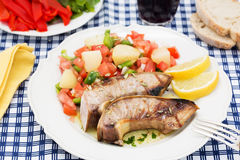 Traditional portuguese dish grilled tuna belly salad Stock Image