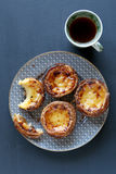 Traditional Portuguese egg tarts-Pastel de nata Stock Photo