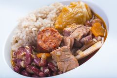Portuguese feijoada. Traditional Portuguese feijoada served on a plate for a healthy eating royalty free stock images