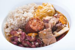 Portuguese feijoada. Traditional Portuguese feijoada served on a plate for a healthy eating stock photography