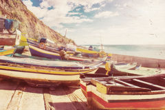 Traditional Portuguese Fishing Boats Royalty Free Stock Photography