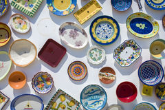 Traditional Portuguese handcrafted plates on the wall Royalty Free Stock Image