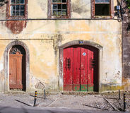 Traditional portuguese house with red door Royalty Free Stock Photography