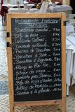 Restaurant Menu Chalkboard on Portuguese Street. Traditional Portuguese Menu on Chalkboard outside Lisbon Restaurant, Portugal Stock Image