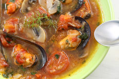 Traditional portuguese mussel soup Royalty Free Stock Image