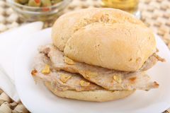 Traditional portuguese pork beef sandwich Stock Image