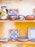 Traditional Portuguese pottery sold as souvenirs in Obidos Stock Images