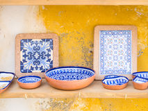 Traditional Portuguese pottery sold as souvenirs in Obidos Royalty Free Stock Photography