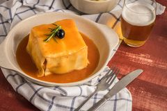 Francesinha on plate Royalty Free Stock Photos