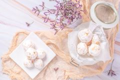 Traditional portuguese sweets beijinhos, regional sweet from Pombal, Portugal.  royalty free stock photo