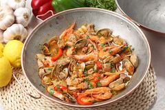 Traditional portuguse seafood dish - cataplana- Stock Photography