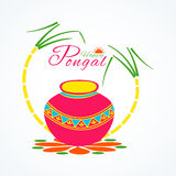 Traditional pot with sugarcane for Happy Pongal festival celebration. Stock Image