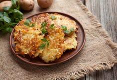 Traditional potato pancakes or latke homemade Royalty Free Stock Image