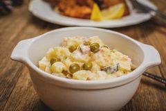 Traditional potato salad. Traditional czech potato salad with mayonnaise and vegetables in white plate stock photography