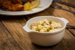 Traditional potato salad. Traditional czech potato salad with mayonnaise and vegetables in white plate stock image