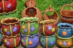 Ceramic Pots in Horezu, Romania. Traditional colored ceramics in Horezu, Romania Royalty Free Stock Image