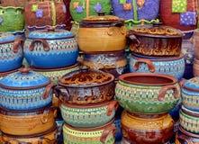Ceramic Pots in Horezu, Romania. Traditional colored ceramics in Horezu, Romania Stock Photo