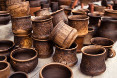 Traditional pottery craft - cup, saucer, plate Royalty Free Stock Photography