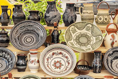 Traditional pottery display Stock Image
