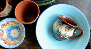 Traditional Pottery. Hand Made Cups and Bowls royalty free stock images