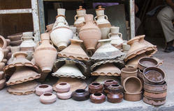 Traditional pottery in market ,Egypt Stock Photos