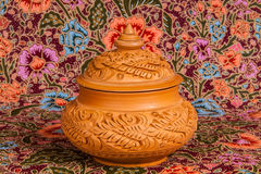 Traditional pottery on painting fabic background Royalty Free Stock Image