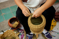 Traditional pottery. Pots by hand Royalty Free Stock Photography