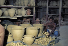 Traditional pottery, Trinidad and Tobago. CHAGUANAS, TRINIDAD AND TOBAGO - AUGUST 6, 2006. Pottery is a common handcraft in western Trinidad, mainly in the Stock Photo