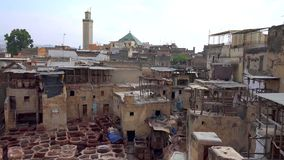 Traditional processing leather tannery in Fes, Morocco stock image