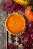 Traditional pumpkin pie halloween sweet treat tart Royalty Free Stock Images