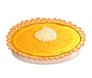 Traditional pumpkin pie with whipped cream. Icon isolated on white background. Autumn, Thanksgiving theme. Vector illustration. Us Royalty Free Stock Photos