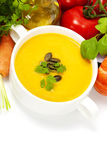 Traditional Pumpkin soup Stock Photos