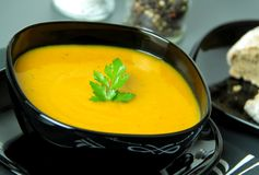 Traditional pumpkin soup. Close up view. Royalty Free Stock Photography