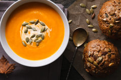 Traditional pumpkin soup meal Stock Image