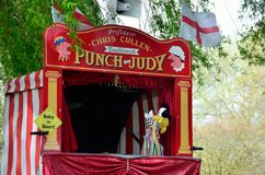 Traditional Punch and Judy booth Royalty Free Stock Images