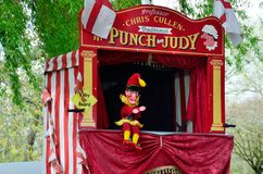 Traditional Punch and Judy booth with Mr Punch Royalty Free Stock Photos